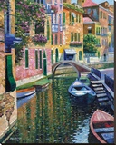 Romantic Canal Stretched Canvas Print by Howard Behrens