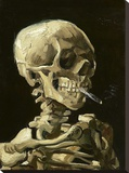 Skull with Burning Cigarette Stretched Canvas Print by Vincent van Gogh