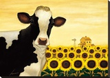 Sunflower Cow Stretched Canvas Print by Lowell Herrero