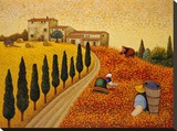 Village Landscape Stretched Canvas Print by Lowell Herrero