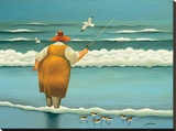 Surfside Fishing Stretched Canvas Print by Lowell Herrero