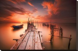 Red Sunset at Carrasqueira, Alentejo Stretched Canvas Print by Andy Mumford