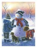 Chubby Snowman Boy & Girls Prints by Vickie Wade