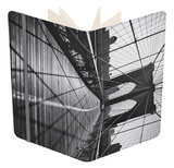 On the Brooklyn Bridge, Shadows - New York City Icon Notebook by Henri Silberman