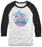 Captain America- Red, White & Blue Badge (Raglan) Shirts