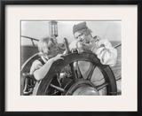 Treasure Island Movie Scene with Two Guys Sailing in Black and White Framed Photographic Print by  Movie Star News
