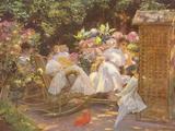 Jose Villegas y Cordero - Ladies in a Garden - Giclee Baskı