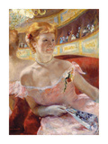 Woman with a Pearl Necklace in a Loge Premium Giclee Print by Mary Stevenson Cassatt