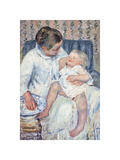 Mother About To Wash Her Sleepy Child,1880 Premium Giclee Print by Mary Stevenson Cassatt