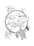 Coloring Page about Whale and Turtles and Seagulls Prints by  xaxalerik