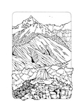 Coloring Page with Mountains Prints by  xaxalerik