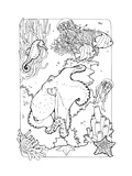 Ocean Life Coloring Page Poster by  xaxalerik