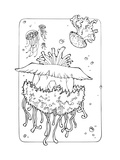 Ocean Life Coloring Page; Jellyfishes Prints by  xaxalerik