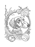 Coloring Page with Dachshund and Autumn Elements Art by  xaxalerik