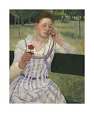 Woman with a Red Zinnia, 1891 Premium Giclee Print by Mary Stevenson Cassatt