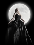 Dark Night Moon Girl With Black Dress Photographic Print by Angela Waye