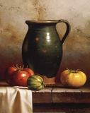 Green Pitcher, Heirlooms & Cloth Poster by Loran Speck