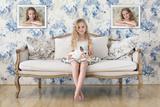 3 Little Girls and a White Rabbit Reproduction photographique par Victoria Ivanova