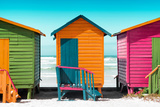 Awesome South Africa Collection - Colorful Beach Huts - Lime & Orange & Deep Pink Photographic Print by Philippe Hugonnard