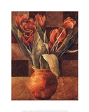 Checkered Tulips II Print by Linda Thompson