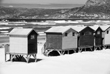 Awesome South Africa Collection B&W - Beach Huts Cape Town Photographic Print by Philippe Hugonnard