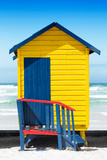 Awesome South Africa Collection - Colorful Beach Hut Cape Town - Yellow & Minight Blue Photographic Print by Philippe Hugonnard