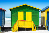 Awesome South Africa Collection - Colorful Beach Huts - Green & Yellow Photographic Print by Philippe Hugonnard