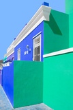 """Awesome South Africa Collection - Colorful Houses """"Ninety-One"""" Royal Blue & Coral Green Photographic Print by Philippe Hugonnard"""