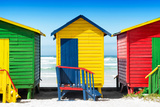 Awesome South Africa Collection - Colorful Beach Huts - Green & Yellow & Red Photographic Print by Philippe Hugonnard