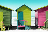 Awesome South Africa Collection - Colorful Beach Huts - Olive Drab & Lime & Hot Pink Photographic Print by Philippe Hugonnard