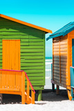 Awesome South Africa Collection - Close-Up Colorful Beach Huts - Lime & Orange II Photographic Print by Philippe Hugonnard