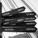 Awesome South Africa Collection Square - Sign Post Cape Town B&W Photographic Print by Philippe Hugonnard