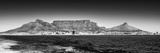 Awesome South Africa Collection Panoramic - Table Mountain - Cape Town B&W Fotografisk tryk af Philippe Hugonnard