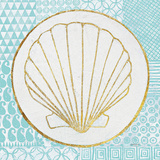 Summer Shells II Teal and Gold Posters by Kathrine Lovell