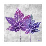 The Purple Leaves on Silver I Poster by Patricia Pinto