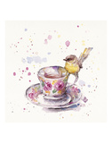 Tea Time (Eastern Yellow Robin) Prints by  Sillier than Sally