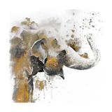 Water Elephant with Gold Kunstdrucke von Patricia Pinto
