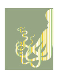 Octopus Striped on Green Posters van Fab Funky