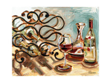 Decanter and Wine Art by Heather A. French-Roussia