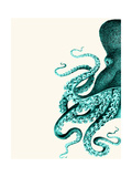 Octopus Green and Cream a Posters van Fab Funky