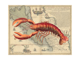 Lobster print on Nautical Map Prints by Fab Funky