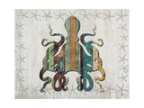Distressed Wood Style Octopus 1 Prints by Fab Funky
