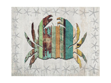 Distressed Wood Style Crab 1 Prints by Fab Funky