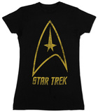 Juniors: Star Trek- Distressed Classic Badge - T-shirt