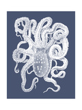 White Octopus on Indigo Blue a Posters van Fab Funky