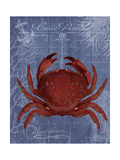 Seaside Postcard Red on Blue f Prints by Fab Funky