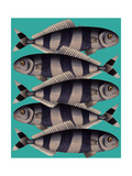 Blue Striped Fish Print by Fab Funky