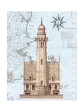 Lighthouse & House on Nautical Map Pôsteres por Fab Funky