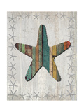 Distressed Wood Style Starfish 1 Prints by Fab Funky