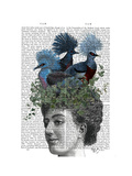 Woman with Blue Birds On Head Reproduction giclée Premium par Fab Funky